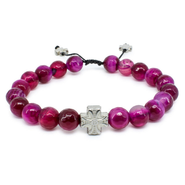 Gorgeous Facetted Cherry Agate Stone Prayer Bracelet