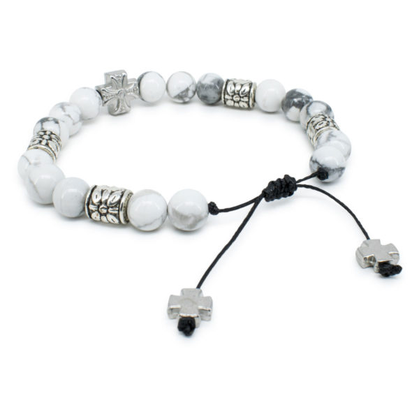 "Howlite Stone Prayer Bracelet ""Twilight"""